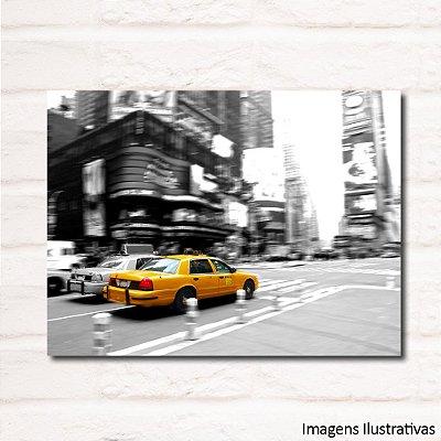 Quadro Decorativo Urbano com Taxi Amarelo