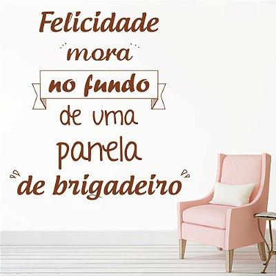 """Adesivo de Parede Frases """" A Felicidade Mora"""""""