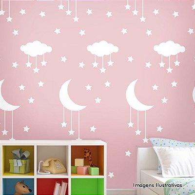 Papel de Parede Infantil Noite Estrelada Branco com Rosa Texturizado Autocolante