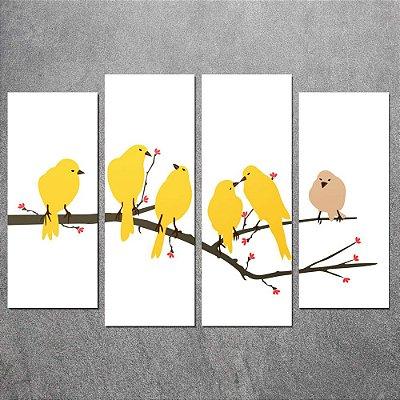 Conjunto de Quadros Decorativo Pássaros Amarelos  0,70 x 1,00 m