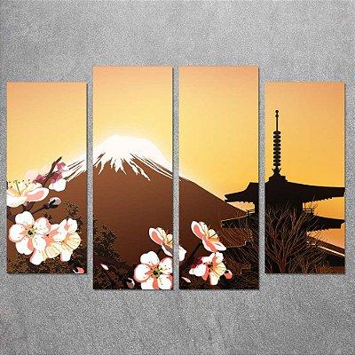 Conjunto de Quadros Decorativo Paisagem Japonesa 0,70 x 1,00 m