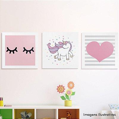 Kit Quadro Decorativo Infantil Unicórnio, Cílios e Coração