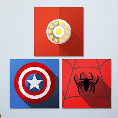 Kit Quadro Decorativo Infantil Super Heróis