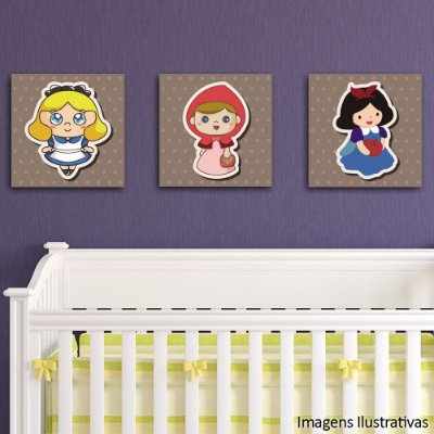 Quadro Decorativo Infantil Trio Princesas