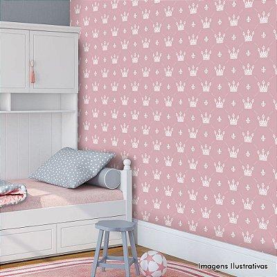 Papel de Parede Infantil Menina Coroa com Fundo Rosa Texturizado Autocolante