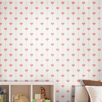 Papel de Parede Texturizado Autocolante Infantil Coração Rosa