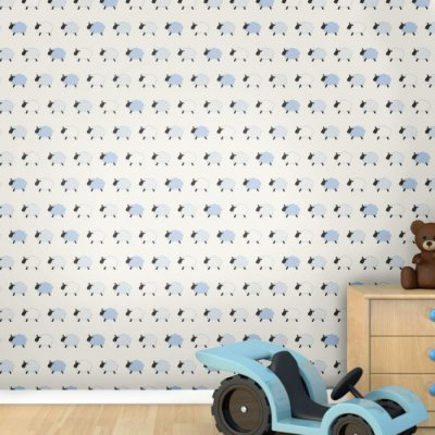 Papel de Parede Infantil Ovelha Menino Texturizado Autocolante