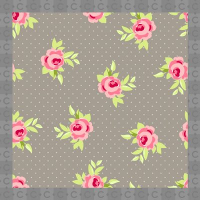 Papel de Parede Texturizado Autocolante Floral com Fundo Cinza
