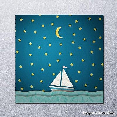Quadro Decorativo Infantil Menino Barquinho a Noite