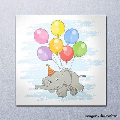 Quadro Decorativo Infantil Elefantinho com Balões