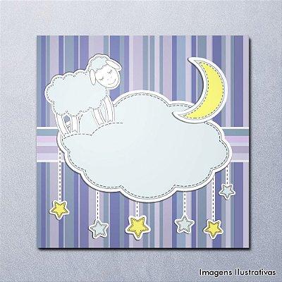 Quadro Infantil Ovelha e Nuvem
