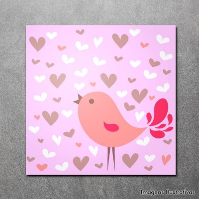 Quadro Decorativo Infantil Pássaro Rosa
