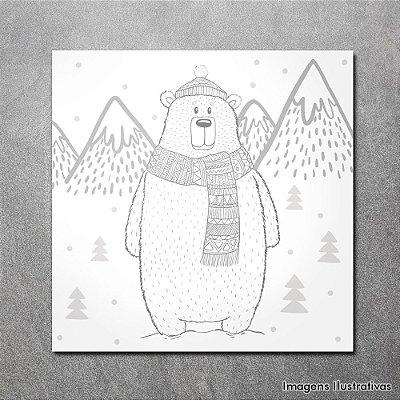 Quadro Infantil Urso na Neve