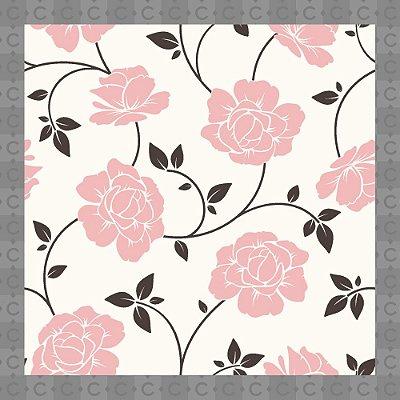 Papel de Parede Infantil Floral Rosa Texturizado Autocolante