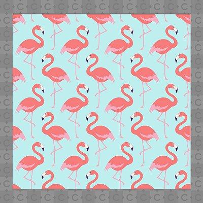 Papel de Parede Texturizado Autocolante Flamingo Rosa e Azul