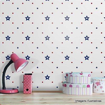 Papel de Parede Infantil Estrela Azul e Vermelho Texturizado Autocolante