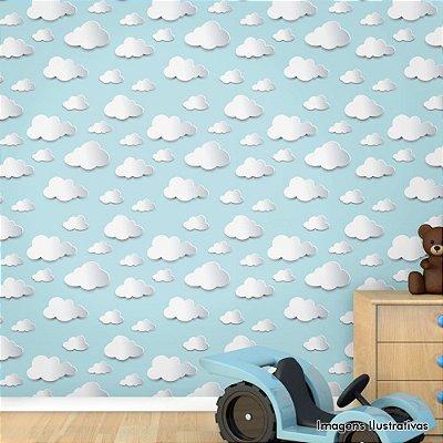 Papel de Parede Texturizado Autocolante Quarto de Bebe Infantil Nuvens