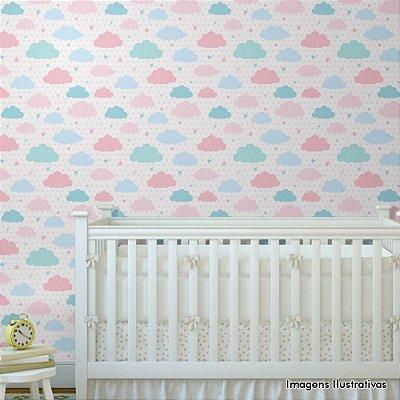 Papel de Parede Infantil Quarto de Bebe Nuvens Rosas e Azuis Texturizado Autocolante