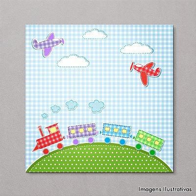 Quadro Infantil Quarto de Bebe Trenzinho e Aviões