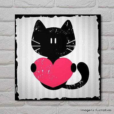 Quadro Decorativo Gatinho Preto com Coração Rosa