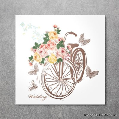 Quadro Decorativo Bike com Flores