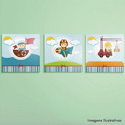 Kit de Quadros Infantil Quarto Menino Profissões
