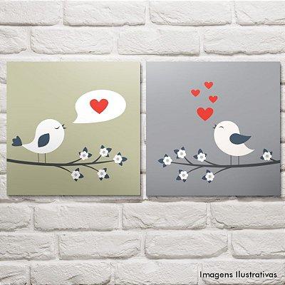 Kit Quadro Decorativo Para Sala e Quarto Pássaros