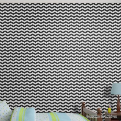 Papel de Parede Texturizado Autocolante Chevron Preto e Branco - Infantil