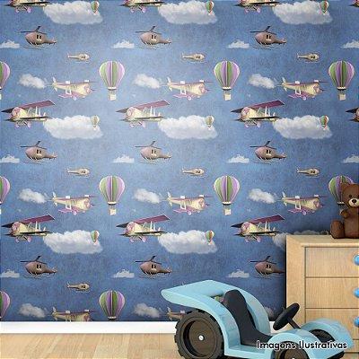 Papel de Parede Texturizado Autocolante Infantil Balões e Aviões 3D
