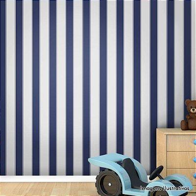 Papel de Parede Texturizado Autocolante Listras Verticais Azul e Branco