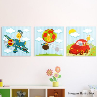 Kit Quadro Decorativo Infantil Girafas
