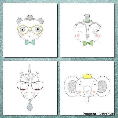 Kit Quadro Decorativo Infantil Aminais Fofos