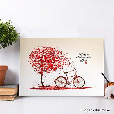 Quadro Decorativo Arvore e Bike Vermelhas