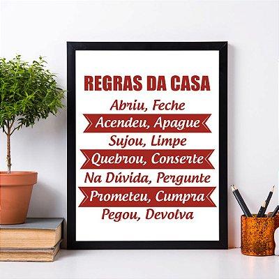 """Quadro Decorativo Frases """"Regras da Casa"""""""
