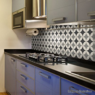 Adesivo de Azulejo Hidráulico Geométrico Cinza e Branco