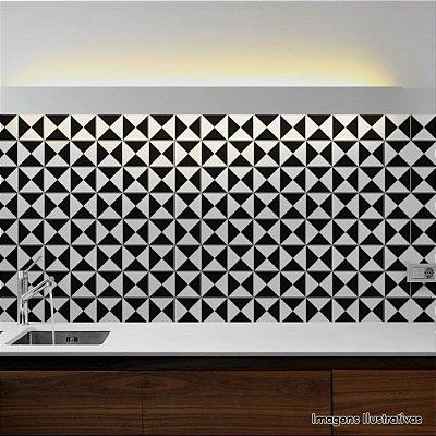 Adesivo de Azulejo Hidráulico Preto e Branco Geométrico 2