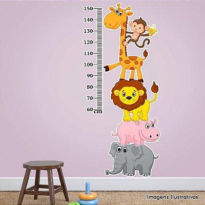 Adesivo de Parede Infantil Animais Régua de Crescimento