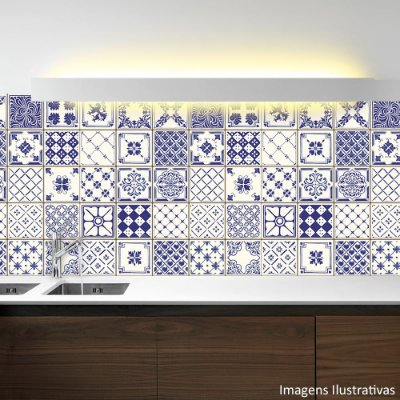 Adesivo de Azulejo Hidráulico Azul e Branco
