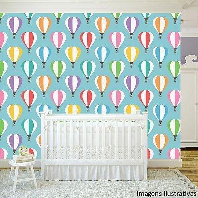 Papel de Parede Texturizado Autocolante Infantil Balões Coloridos