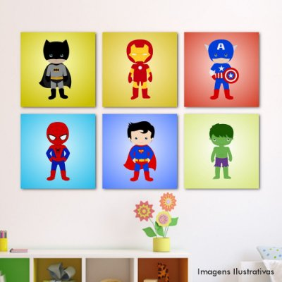 Kit Quadro Decorativo Infantil Super Heroes
