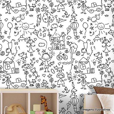Papel de Parede Infantil Primeiros Desenhos Texturizado Autocolante