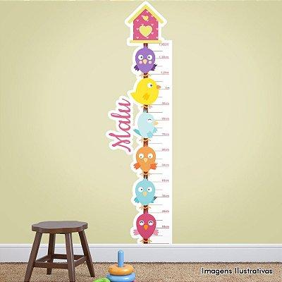 Adesivo de Parede Infantil Casa e Passarinhos Régua Mede Altura
