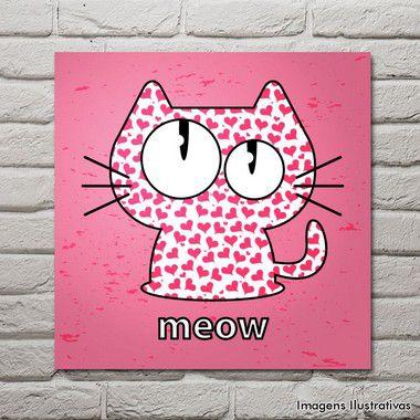 Quadro Decorativo Rosa Com Gatinha Meow