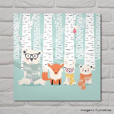 Quadro Infantil Animais na Floresta Nevando