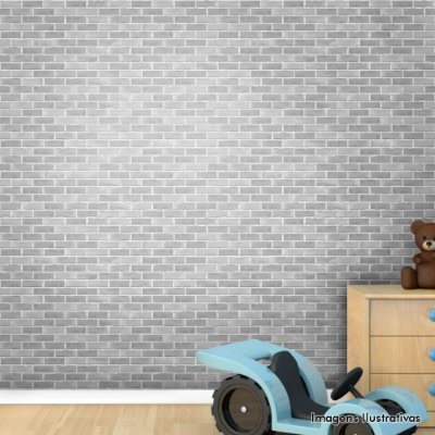 Papel de Parede Infantil Tijolo Cinza Texturizado Autocolante