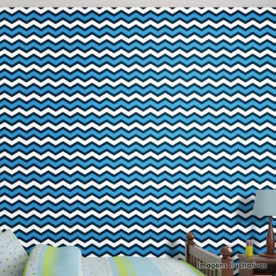 Papel de Parede Texturizado Autocolante Chevron Azul e Branco