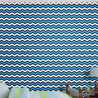 Papel de Parede Infantil Chevron Azul e Branco Texturizado Autocolante