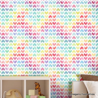 Papel de Parede Infantil Corações Coloridos Texturizado Autocolante