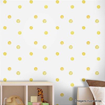 Papel de Parede Texturizado Autocolante Infantil Aquarela Amarela