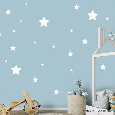 Adesivo de Parede Infantil Estrelas - Cartela com 36 Unidades